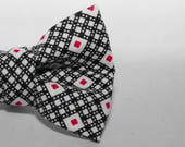 Dapper Cat Black and Red Geometric Pattern Cat Bow Tie