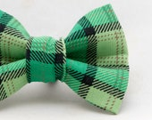 Dapper Cat St Patty's Green Plaid Bow Tie