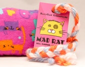 Cute Kitties on Pink Catnip Stuffed MadRat Cat Toy