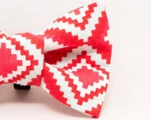 Dapper Cat Red and White Diamond Pattern Bow Tie