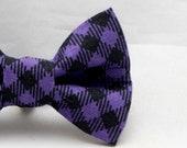 Dapper Cat Purple Plaid Bow Tie