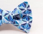Dapper Cat Repeating Blue Geometric Pattern Bow Tie
