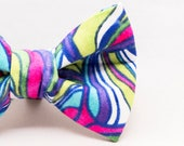 Dapper Cat Pastel Stripe Pattern Bow Tie