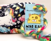 Unicorns on Blue Catnip Stuffed MadRat Cat Toy