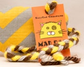 Gold and Gray Chevrons on Bottom Weight Catnip Stuffed MadRat Cat Toy