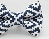 Dapper Cat Black and White Maze Pattern Cat Bow Tie