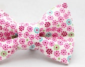 Dapper Cat Pink Floral Pattern Cat Bow Tie