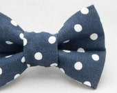 Dapper Cat Dark Blue and White Polka Dot Pattern Cat Bow Tie