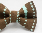 Dapper Cat Brown and Blue Dot Stripes Pattern Cat Bow Tie