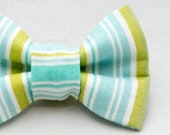 Dapper Cat Blue and Green Stripes Pattern Cat Bow Tie