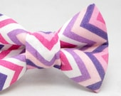 Dapper Cat Purple and Pink Chevron Stripes Pattern Cat Bow Tie