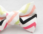 Dapper Cat Pastel Chevron Stripes Pattern Cat Bow Tie