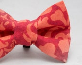 Dapper Cat Red Orange Paisley Pattern Cat Bow Tie