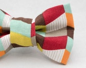 Dapper Cat Earth Tones Geometric Pattern Cat Bow Tie