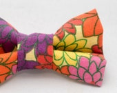Dapper Cat Retro Floral Pattern Cat Bow Tie