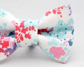Dapper Cat Pastel Floral Pattern Cat Bow Tie