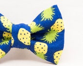 Dapper Cat Pineapple on Blue Pattern Bow Tie