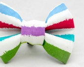 Dapper Cat Rainbow Stripes Pattern Cat Bow Tie