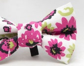 Dapper Cat Pink and White Floral Pattern Cat Bow Tie