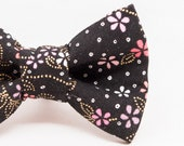 Dapper Cat Black and Metallic Gold Abstract Floral Design Bow Tie