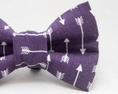 Dapper Cat Purple and White Arrows Pattern Cat Bow Tie