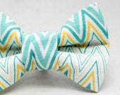 Dapper Cat Blue and Yellow Chevron Pattern Cat Bow Tie