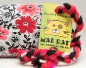 Red Flowers on White & Black Catnip Stuffed MadRat Cat Toy