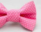 Dapper Cat Pink and White Polka Dot Pattern Cat Bow Tie