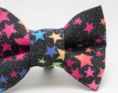 Dapper Cat Glitter Rainbow Stars Pattern Cat Bow Tie