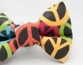 Dapper Cat Rainbow Peace Sign Pattern Cat Bow Tie