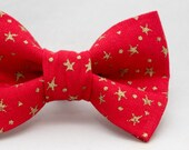 Dapper Cat Christmas Red with Metallic Gold Stars Xmas Cat Bow Tie