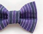 Purple and Silver Metallic Stripes Dapper Cat Bow Tie