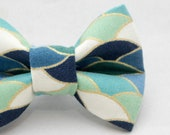 Dapper Cat Blue Wavy Pattern with Gold Trim Cat Bow Tie