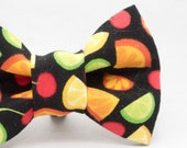 Dapper Cat Fruit on Black Pattern Cat Bow Tie