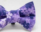 Dapper Cat Purple Floral Pattern Cat Bow Tie