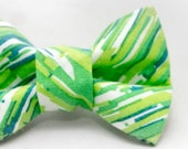 Dapper Cat Green Streak Pattern Cat Bow Tie