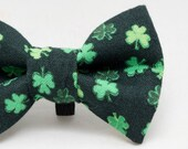Dapper Cat Four Leaf Clovers on Black Cat Bow Tie