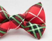 Dapper Cat Christmas Colors Plaid Pattern Xmas Cat Bow Tie