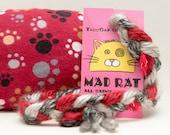 Paw Prints on Red Catnip Stuffed MadRat Cat Toy