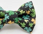 Dapper Cat Glitter Four Leaf Clovers Cat Bow Tie