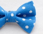 Dapper Cat Blue and White Small Polka Dot Cat Bow Tie
