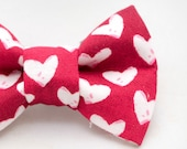 Dapper Cat White Hearts on Red Cat Bow Ties