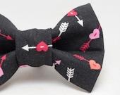 Dapper Cat Cupid Hearts on Black Cat Bow Ties