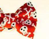 Dapper Cat Skull and Cross Bones on Red Pattern Cat Bow Tie