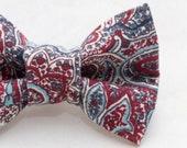 Dapper Cat Purple and Blue Paisley Cat Bow Tie