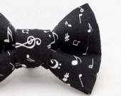 Dapper Cat Black Music Notes Pattern Cat Bow Tie