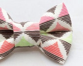 Dapper Cat Pink and Green Diamond Pattern Cat Bow Tie