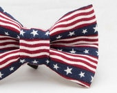 4th of July Stars and Stripes Flag Pattern Dapper Cat Bow Tie