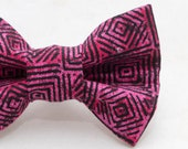 Dapper Cat Pink Geometric Pattern Cat Bow Tie