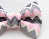 Dapper Cat Pink White & Gray Zig Zag Pattern Cat Bow Tie